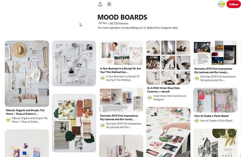 Pinterest - Mood board ideas