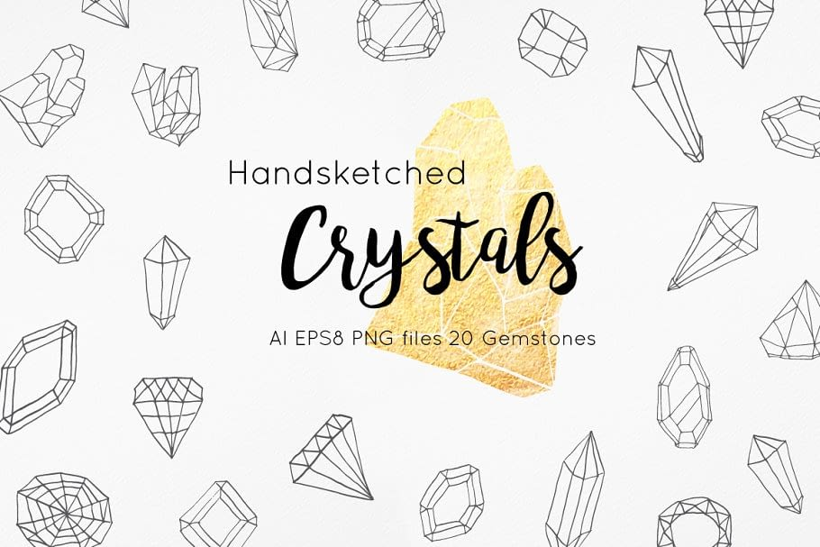Handsketched Gemstones and Crystals min