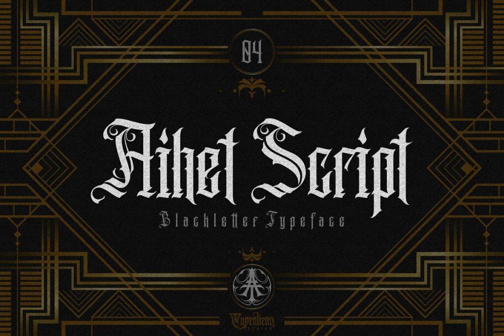 10. Aihet Script – Blackletter Tattoo Font
