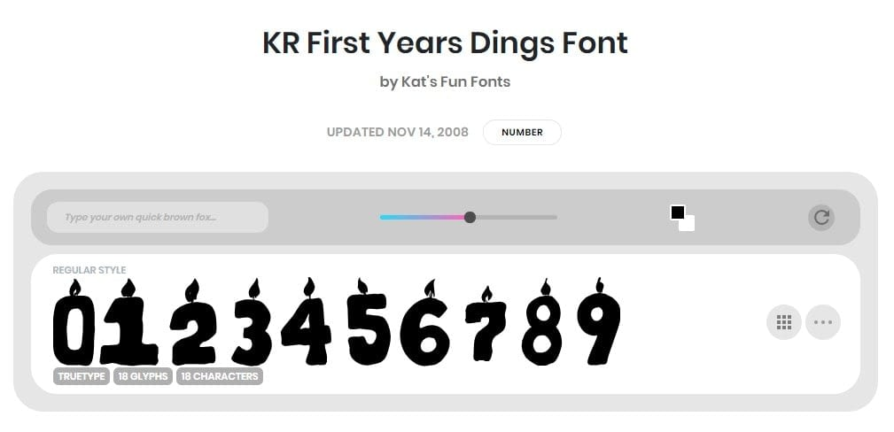 Best Number Fonts - KR-First-Years-Dings-Font
