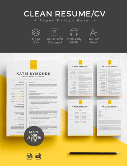 Professional Word-compatible 4-page Resume templates