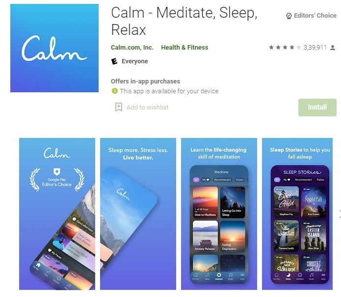 6. To get inspired you must relax with Calm app min