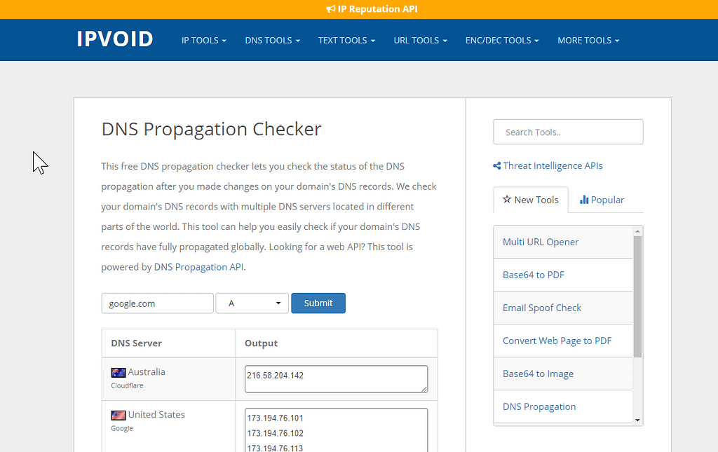 DNS Propagation Checker Tool