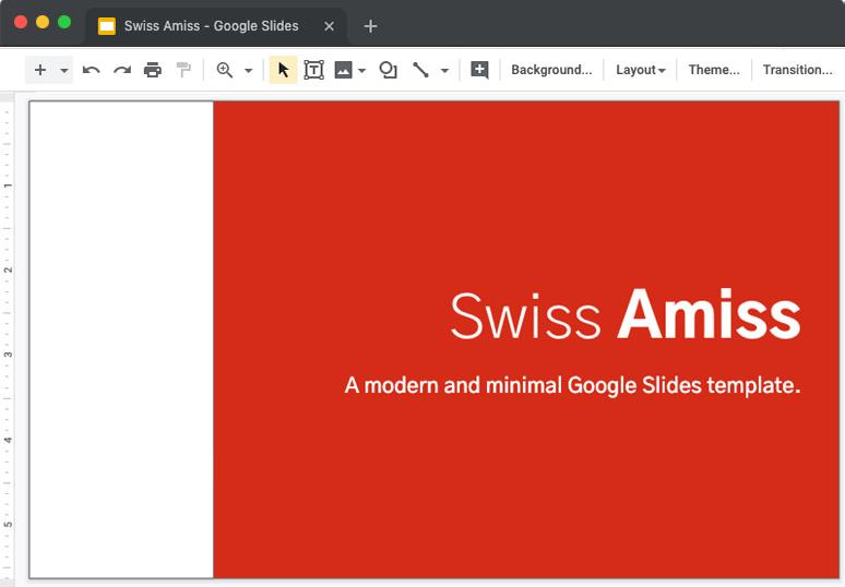 Google Swiss Amiss Minimum Slide Template