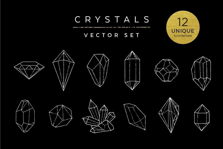 Crystals Vector Illustration Set min