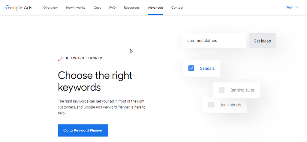 Google Keyword PlannerAdwords