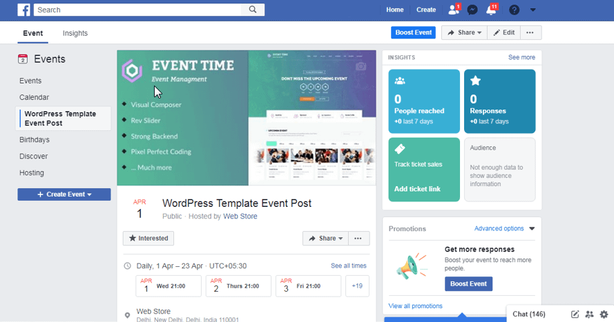 Updating your 'Events' page