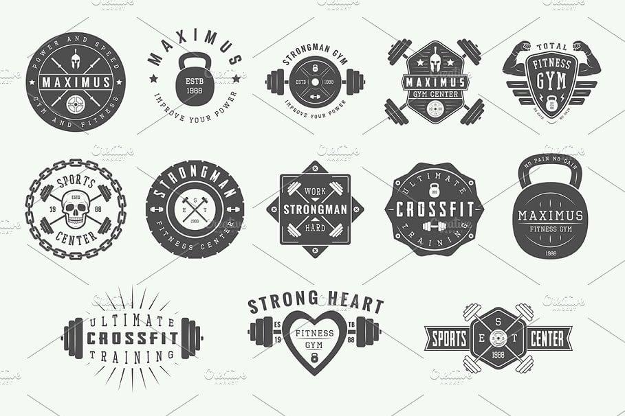 Vintage Gym Logos graphic resources