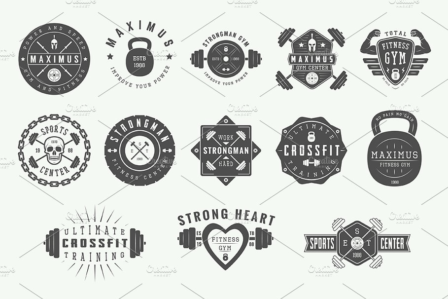 Vintage Gym Logos graphic resources