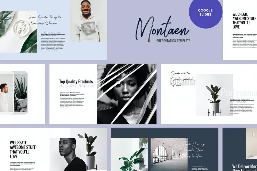 Montaen - Simple, Minimalist Slides Themes Google Slides Templates
