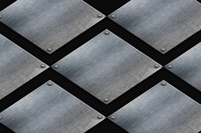 Grunge metal plates on a carbon fiber texture (Carbon Fiber Textures)