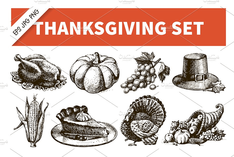 Vintage Thanksgiving Fall Graphics