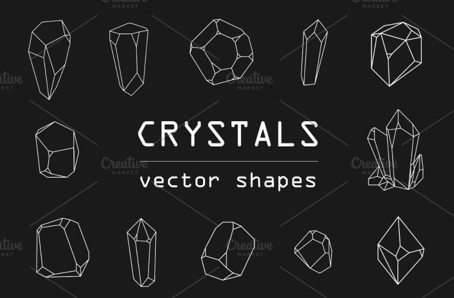 Crystals vector shapes min