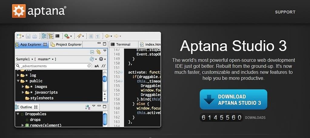 aptana Best JavaScript IDE and Code Editors