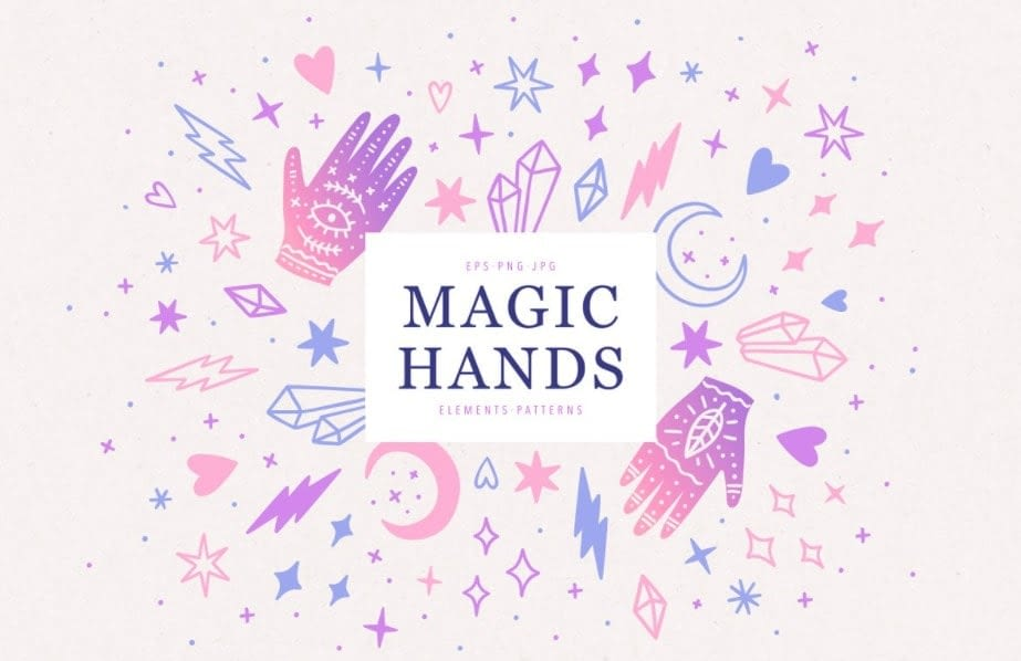 Magic hands and crystals set min