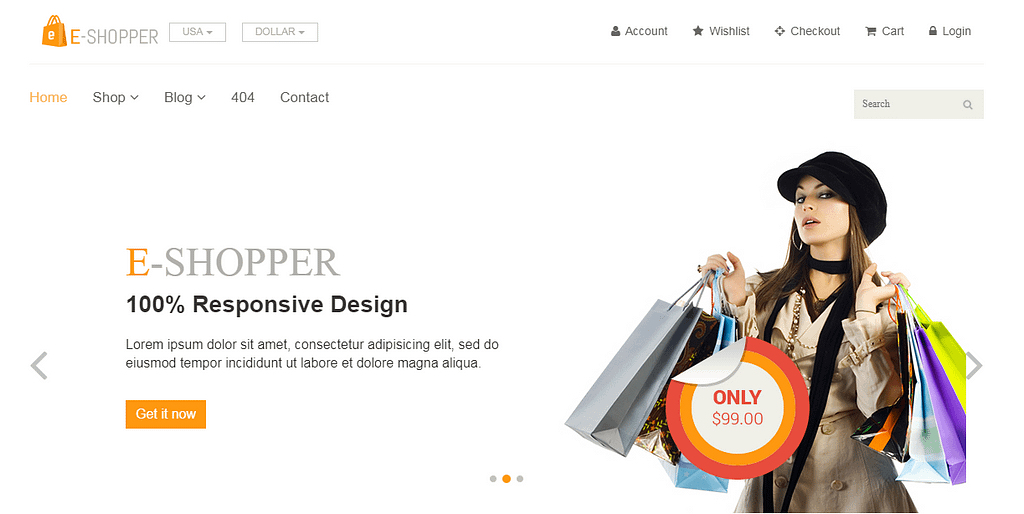 eShopper Free Website Templates