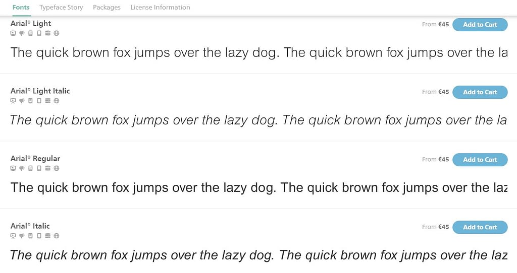 Arial fonts