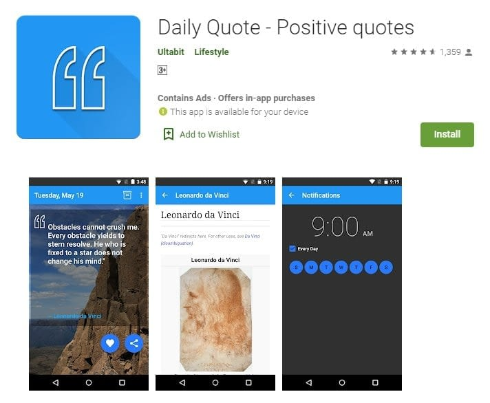 7. Receive positive quotes with the Daily Quote app min