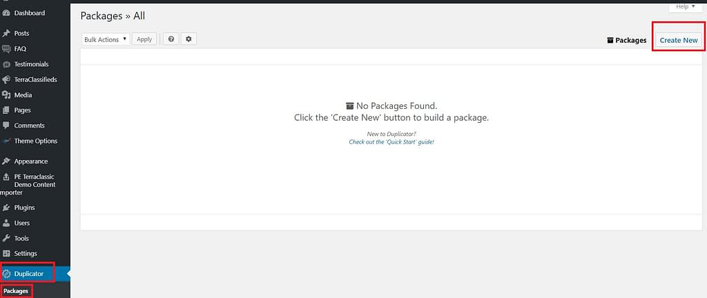 Go to Packages and click on Create new