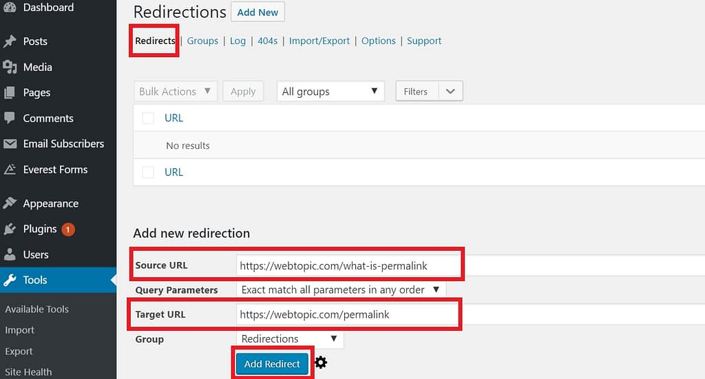 Go to tools & click on Redirect and click on redirects