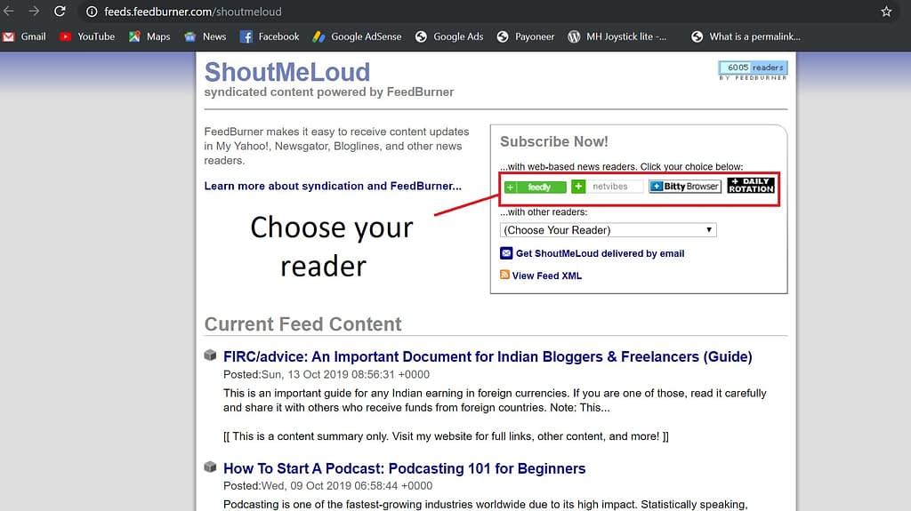 Choose your RSS feed reader