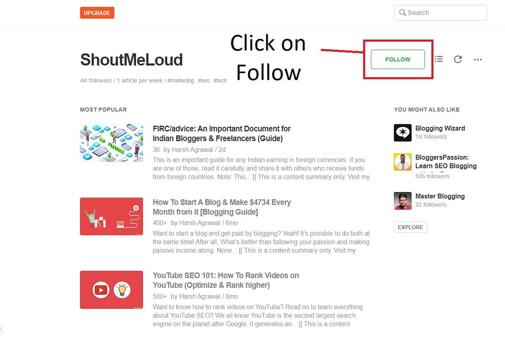 Click on follow - Webtopic